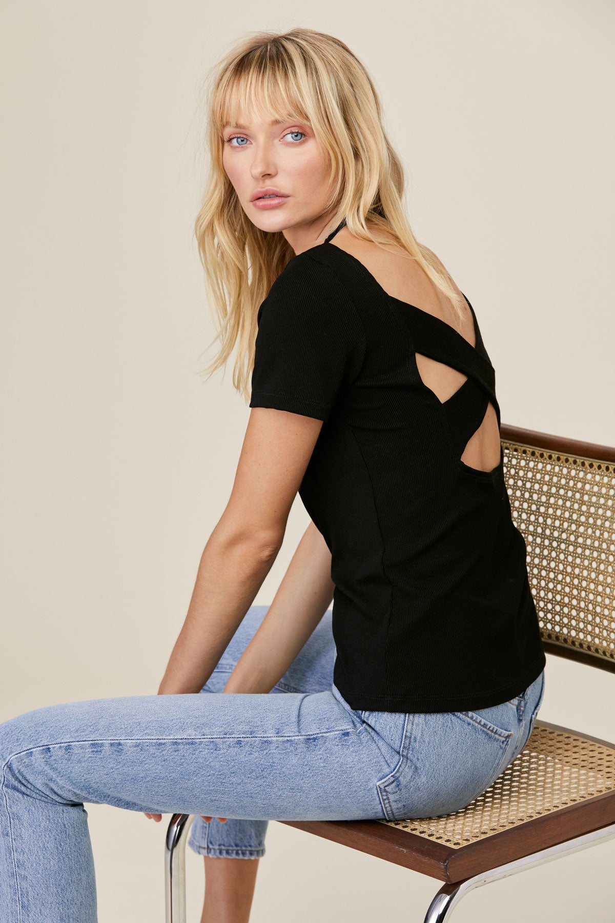 LNA Lonie Rib Tee with Criss Cross Cutout Back in Black