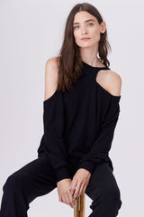 LNA Brushed Lorenzo Cutout Sweater in Black