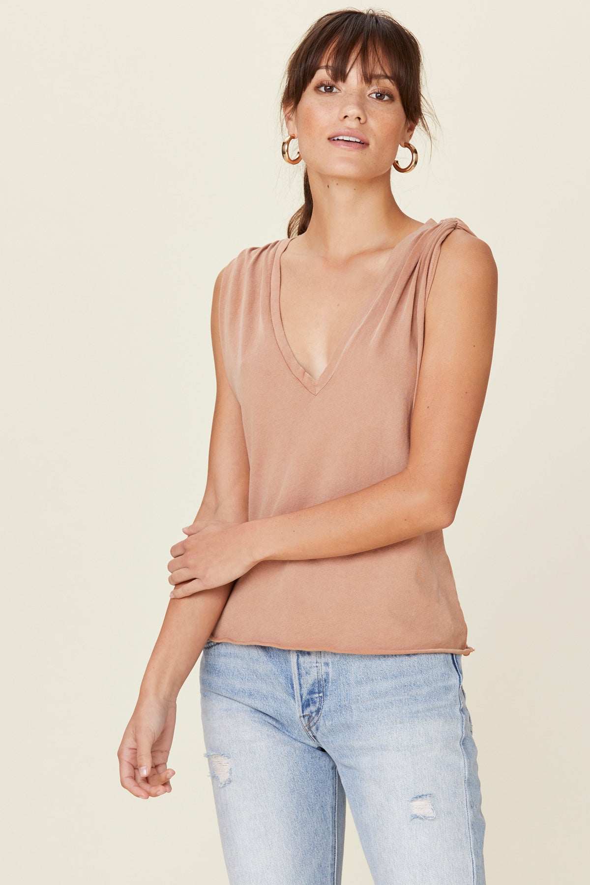 Essential Cotton Lyle Sleeveless by Lna Clothing