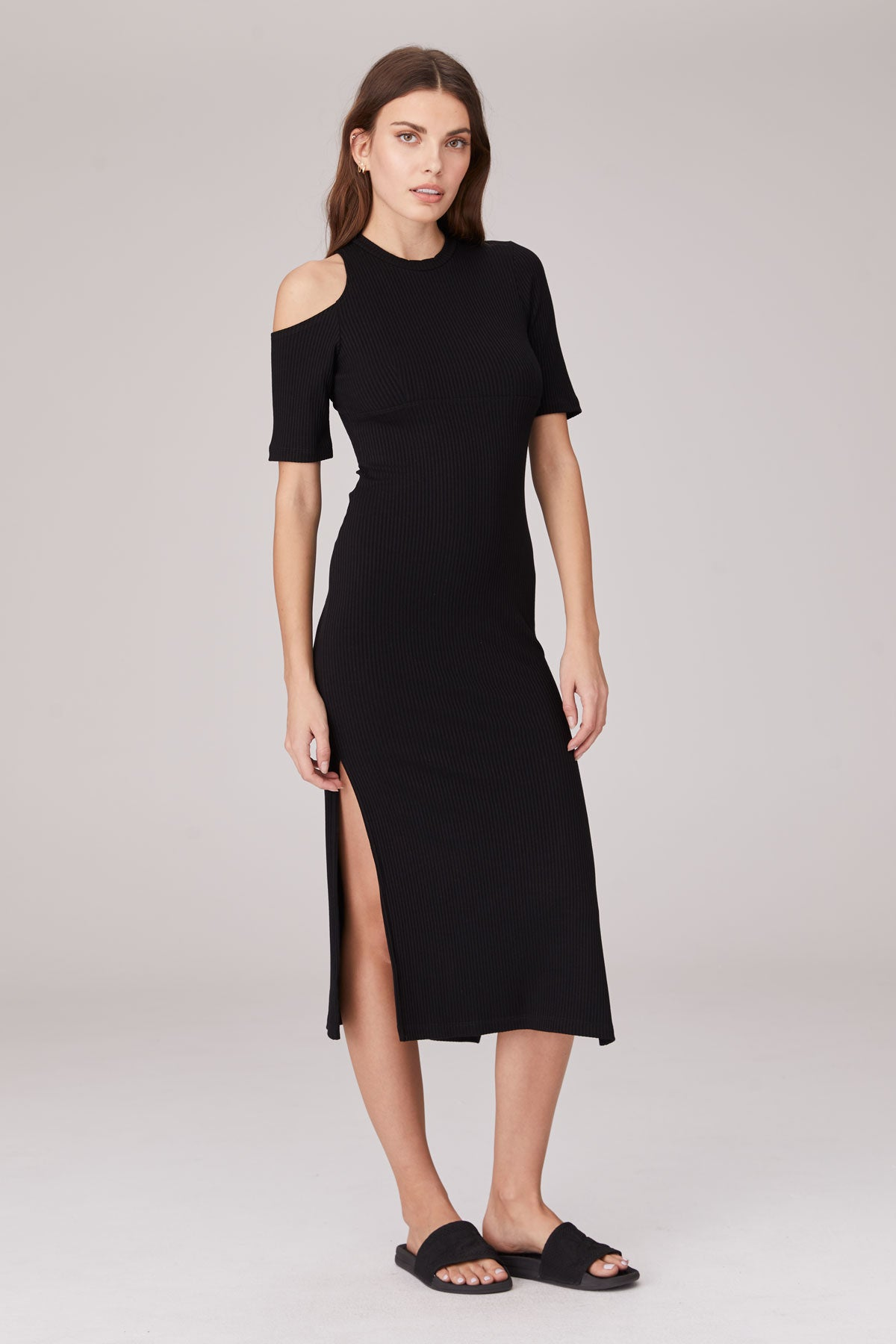 LNA Lynne Black Rib Dress with shoulder cutout