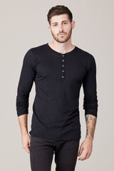 Men's Long Sleeve Button Henley - Black