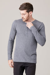 Men's Long Sleeve Button Henley - Heather Grey