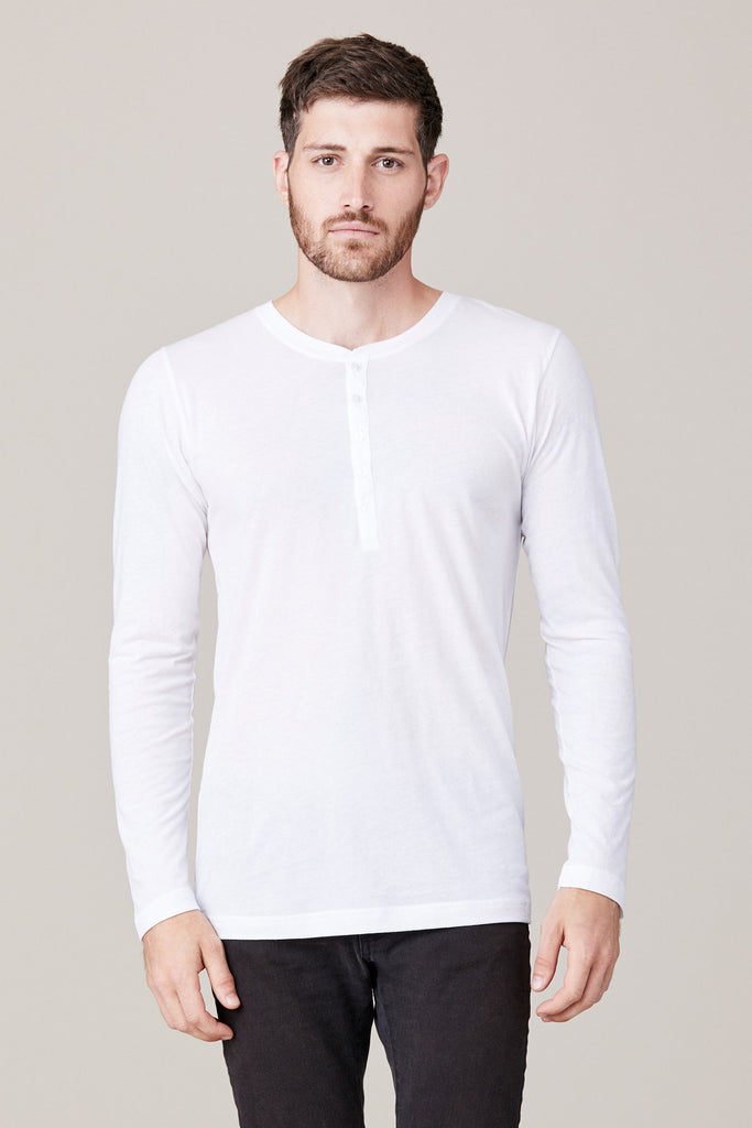 Lna clothing men 39 s long sleeve button henley white for Mens long sleeve white shirts