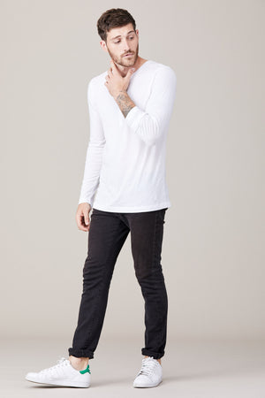 Men's Long Sleeve Button Henley - White