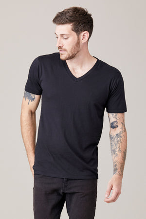 Men's Short Sleeve V Neck - Black