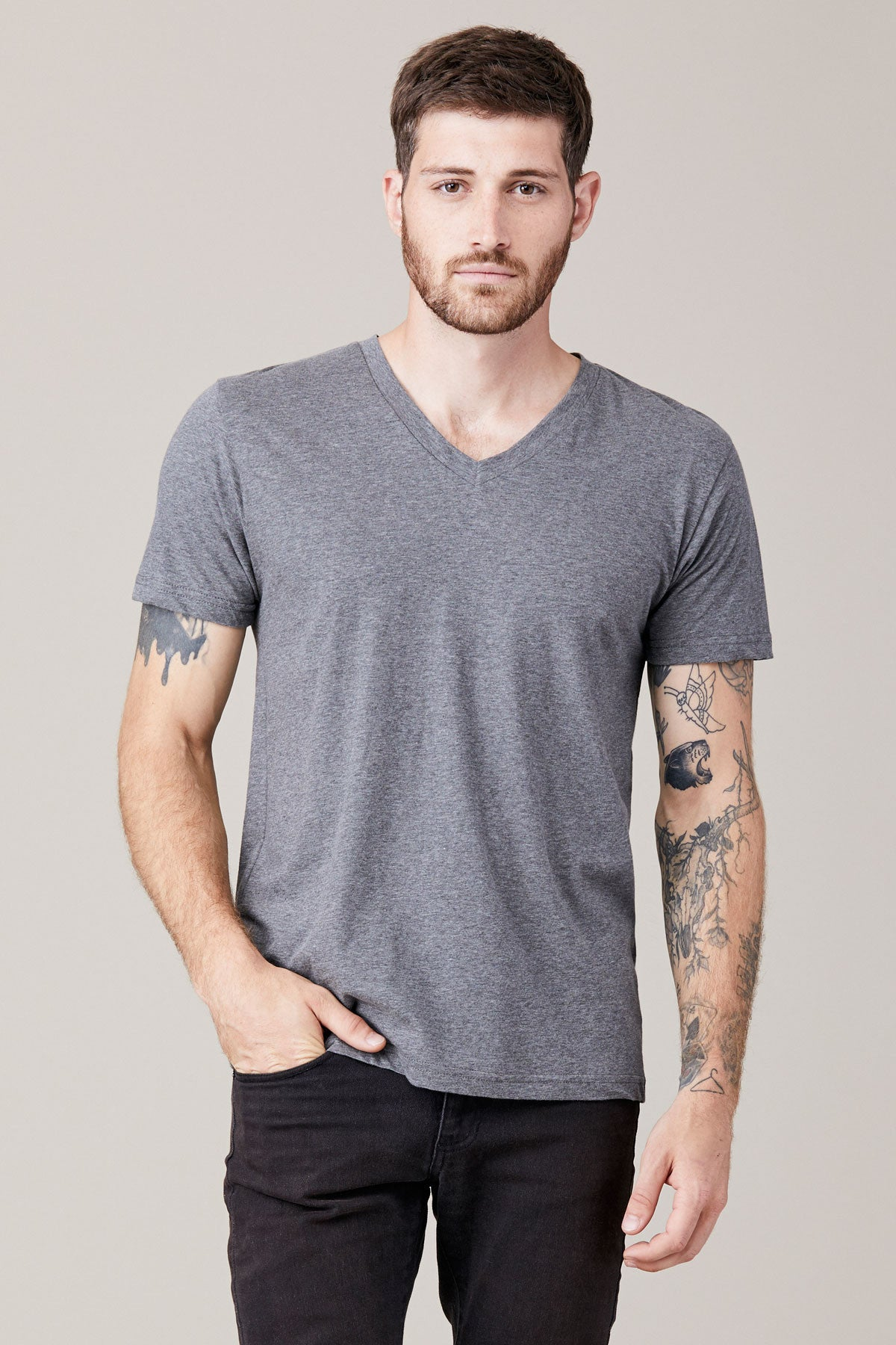 Men's Short Sleeve V Neck - Heather Grey