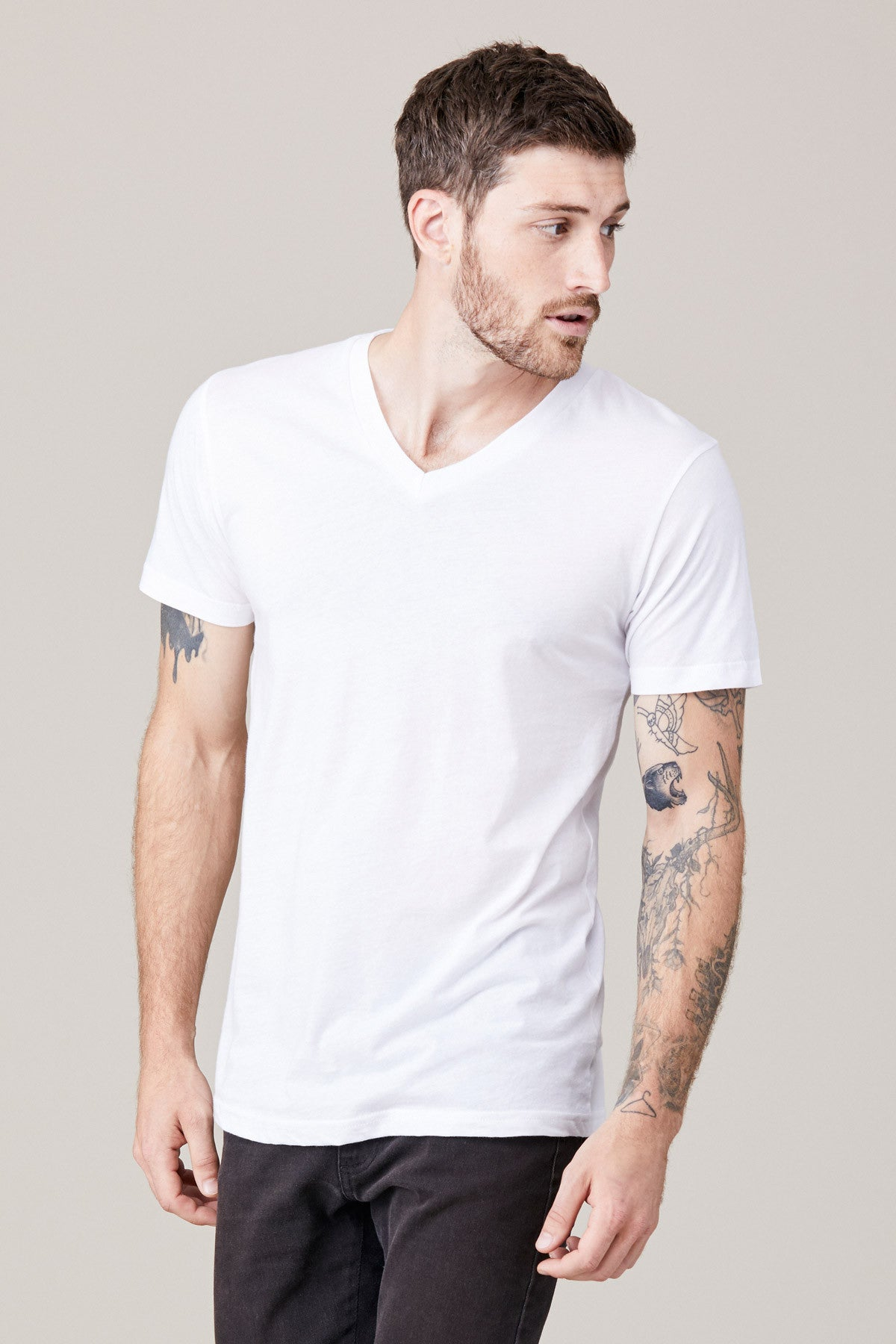 Men's Short Sleeve V Neck - White