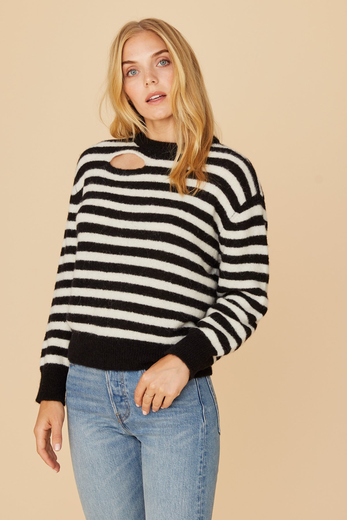 LNA Malone Aplaca Striped Sweater