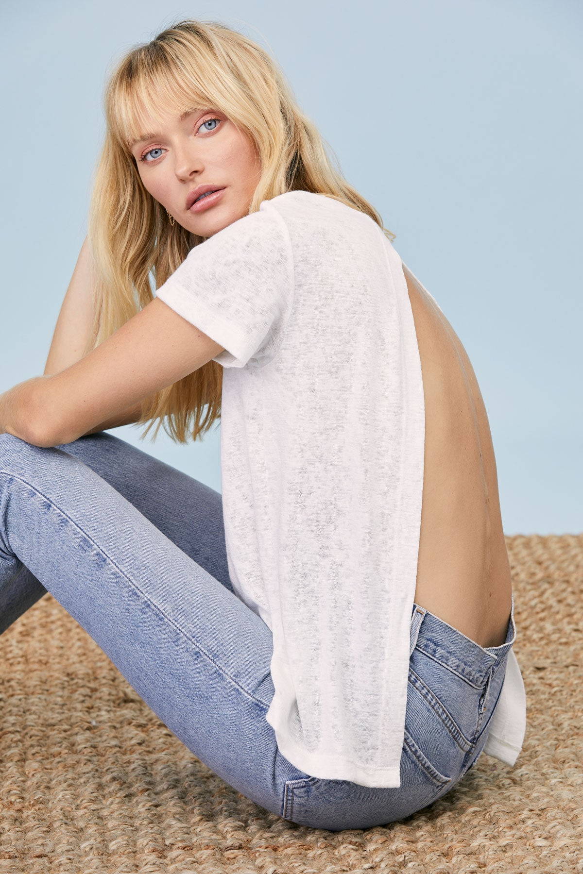 LNA Clothing Mariana Backless Tee in White