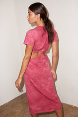 LNA Mayer Cutout Tee Dres in Fuchisa Smoke Pink