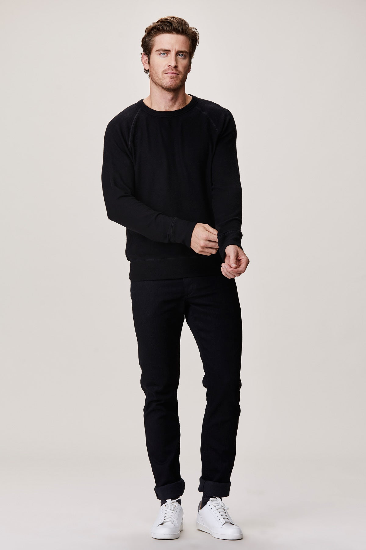 LNA Men's Black Brushed Hacci Pullover Raglan Sweater