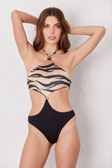 LNA Tiger Mexique Halter One Piece Swimsuit