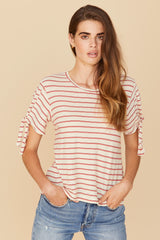 LNA Millie Stripe Tee in Red and White