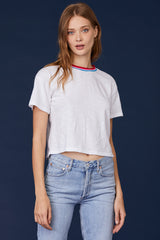 LNA Grey Mitchell Tee with Rainbow Trim