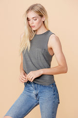 Mock Neck Muscle Tank - Nickel