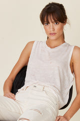 LNA Mora Marble Muscle Tee Rosy Pink