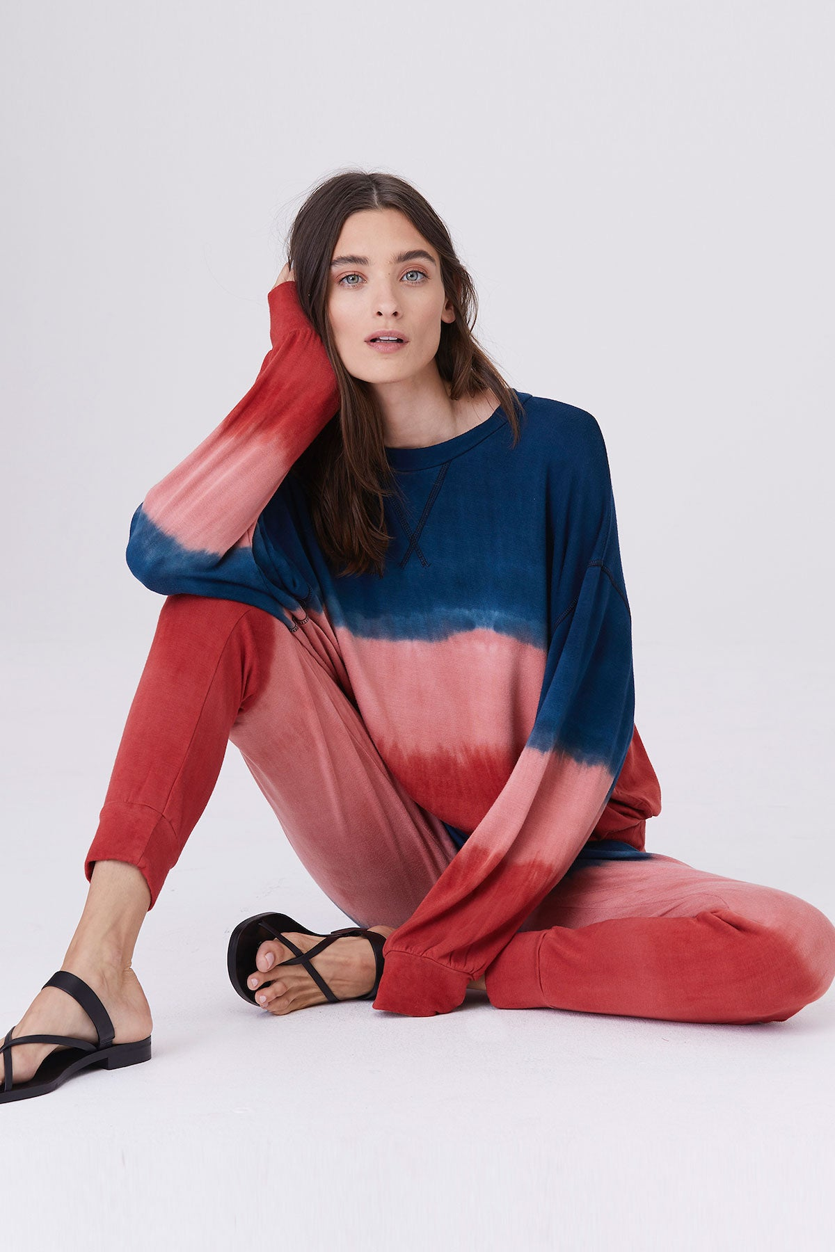 LNA Multi Dye Rixo Pullover Sweatshirt in Red and Blue