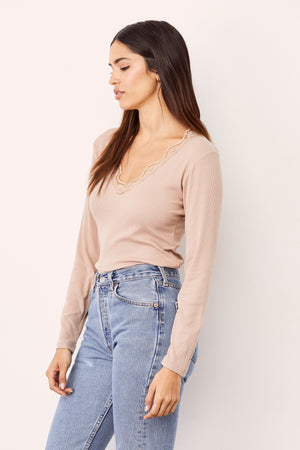 LNA Naomi Lace Long Sleeve Top