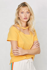LNA Nassau Cutout tee in golden sun yellow