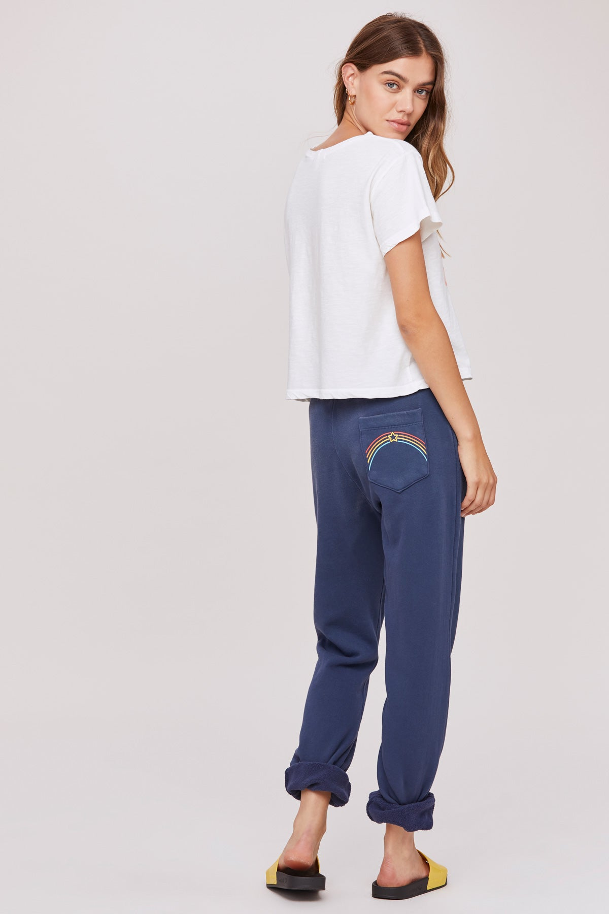 LNA Pocket Full Of Rainbows Sweat Pant in Navy Blue
