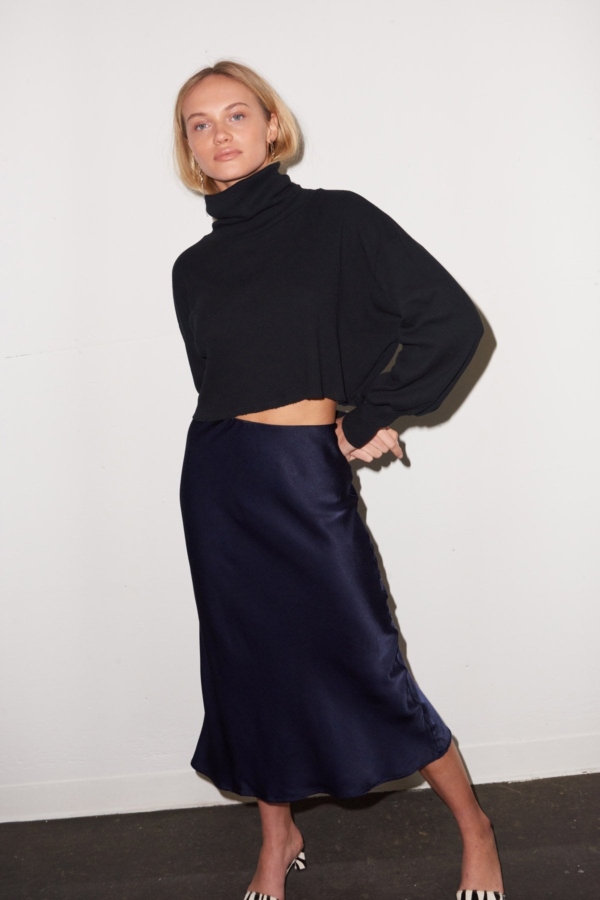 LNA Shine Bias Skirt in Navy