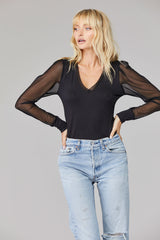 LNA Nina Mesh Sleeve Top in Black