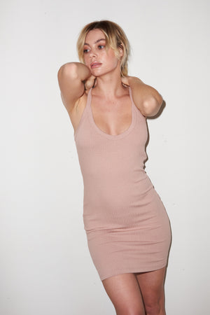 LNA Chriselle Ribbed Mini Dress in Nude