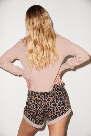 LNA Ribbed Long Sleeve Crew in Nude
