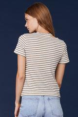 LNA Ono Gold and White Striped Cutout Tee