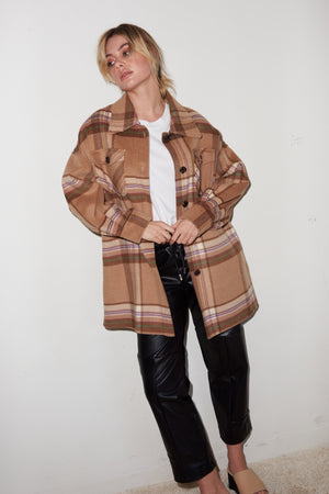 LNA oversized boyfriend jacket in camel plaid