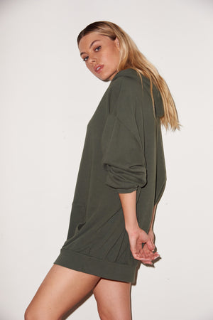 LNA Oversized Hoodie Dress In Climbing Ivy