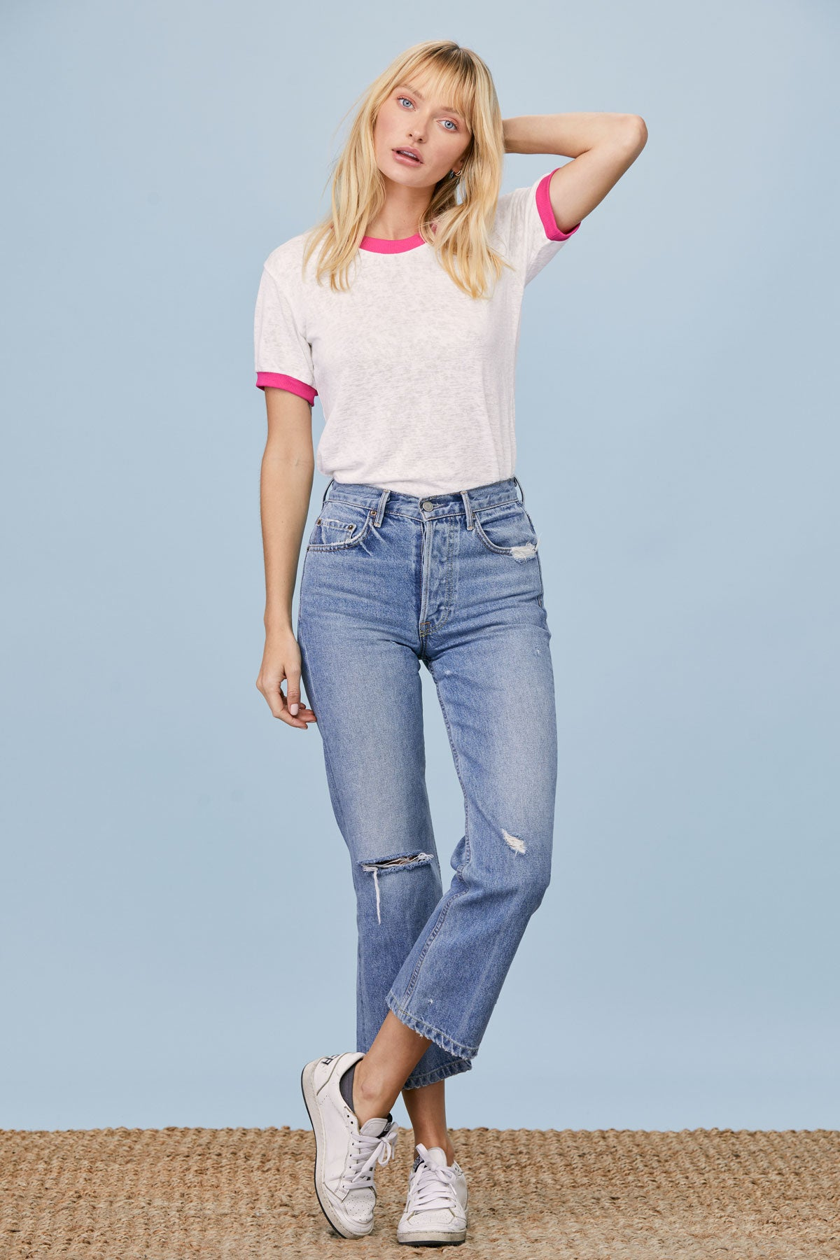 LNA Clothing – LNA Clothing Ringer Tee in White with Pink Ringer