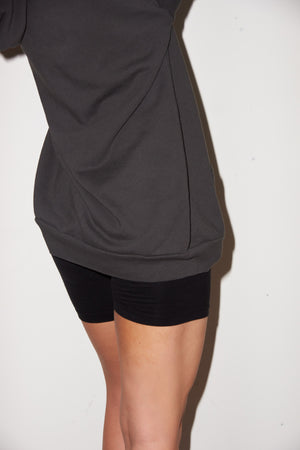 LNA Oversized Hoodie Dress in Pirate Black