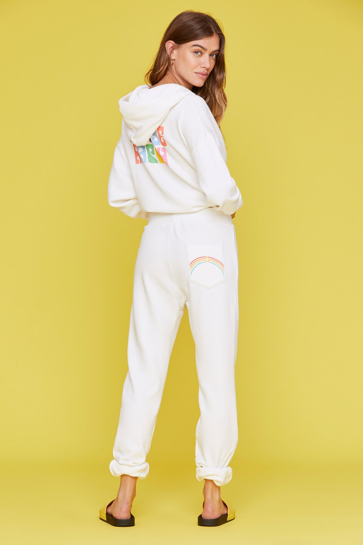 LNA Pocket Full Of Rainbows Sweat in Lily White