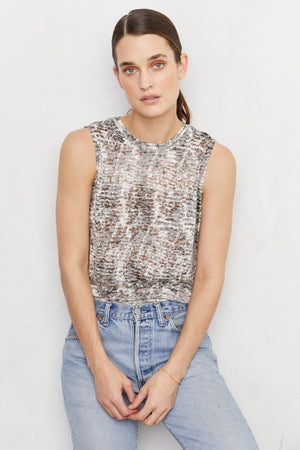 LNA Asymmetric Sleeveless Python Snake Print  Burnout Tank Top