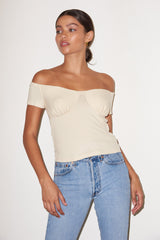 LNA Seabra ribbed top in ivory