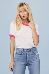 LNA Clothing Ringer Tee in White with Neon Pink Ringer