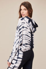 LNA Rapture Tie Dye Hoodie in Navy and White