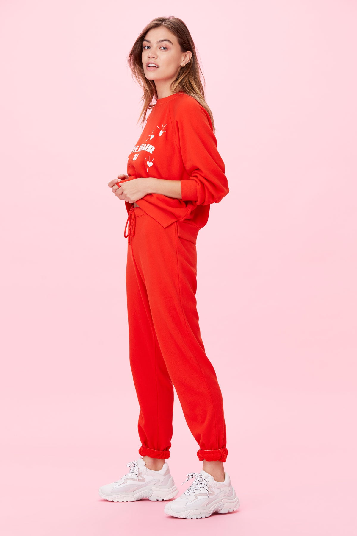 LNA Calla Sweatpant in Firey Red