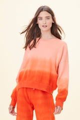 LNA Drop Shoulder Sweatshirt in Orange Red Ombre