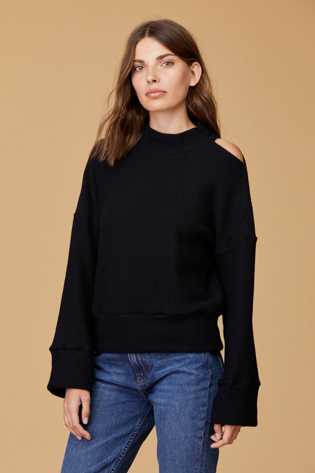 LNA Adore Rib Cutout Sweater in Black