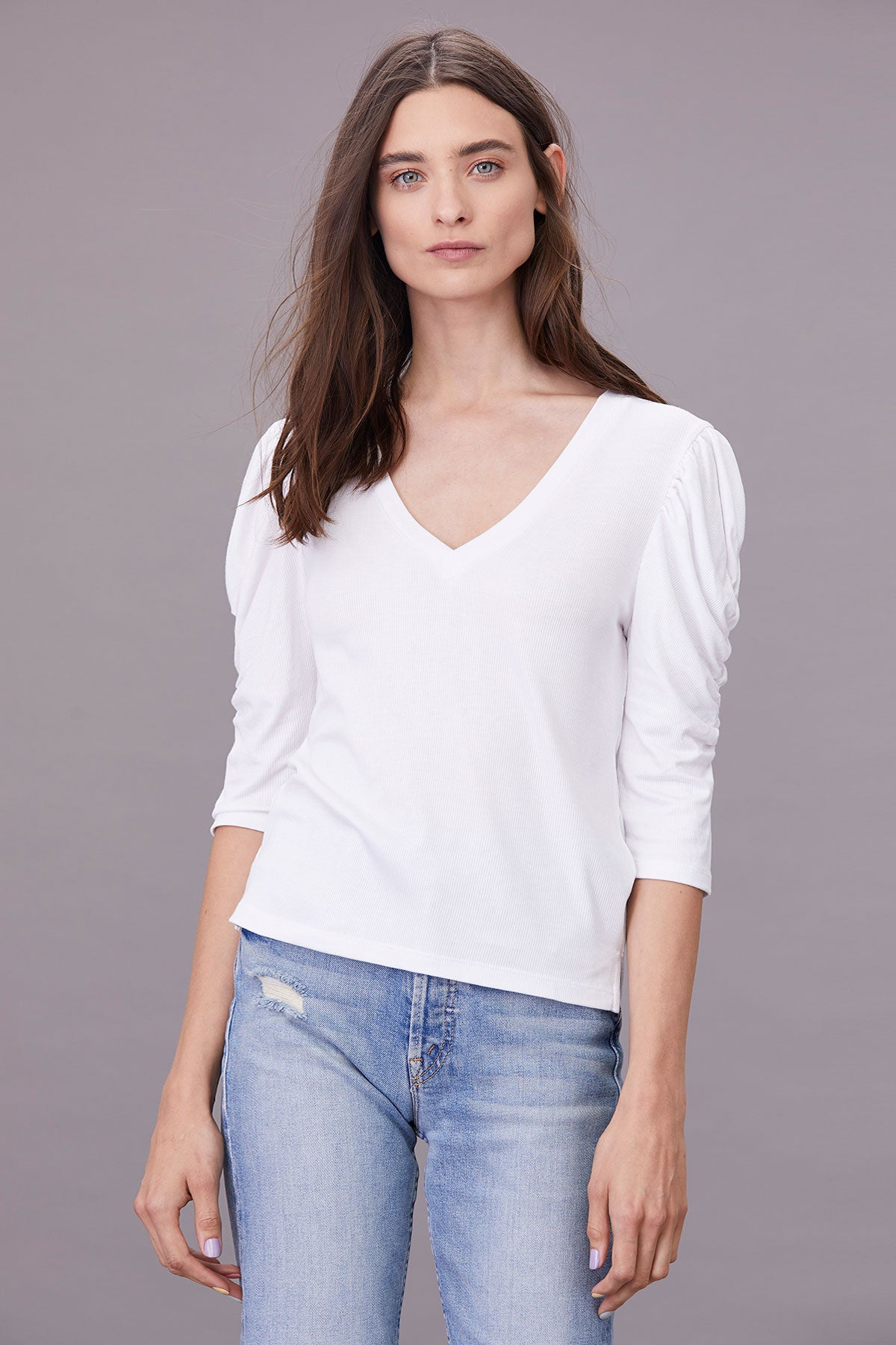 LNA Alina Ribbed Top with statement sleeves in White