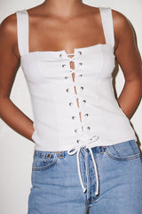 LNA Ribbed Alina Tank with lace up front in white