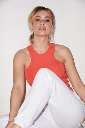 LNA Ribbed Alissar Tank in Coral