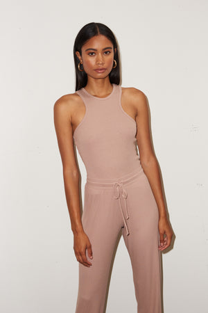 LNA Ribbed Core Jogger in Nude