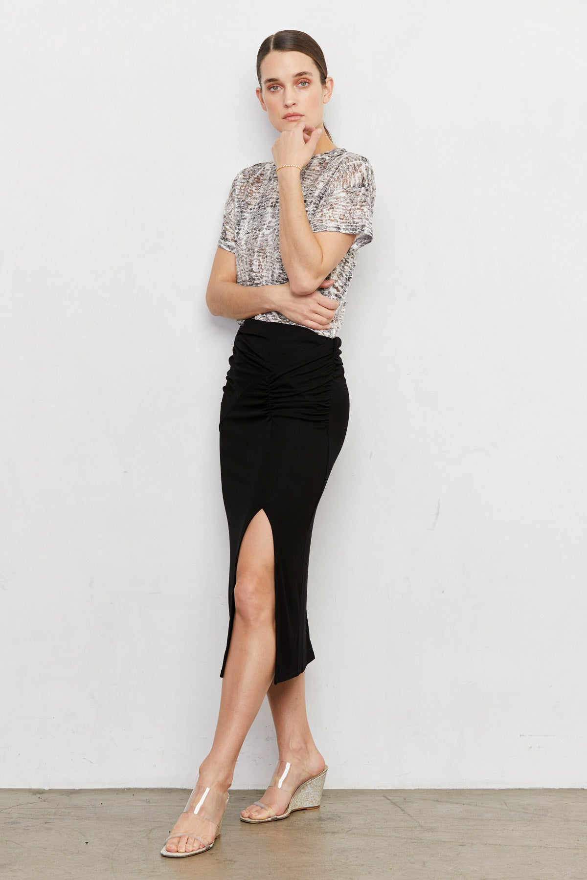 LNA Black Ribbed Canto Skirt