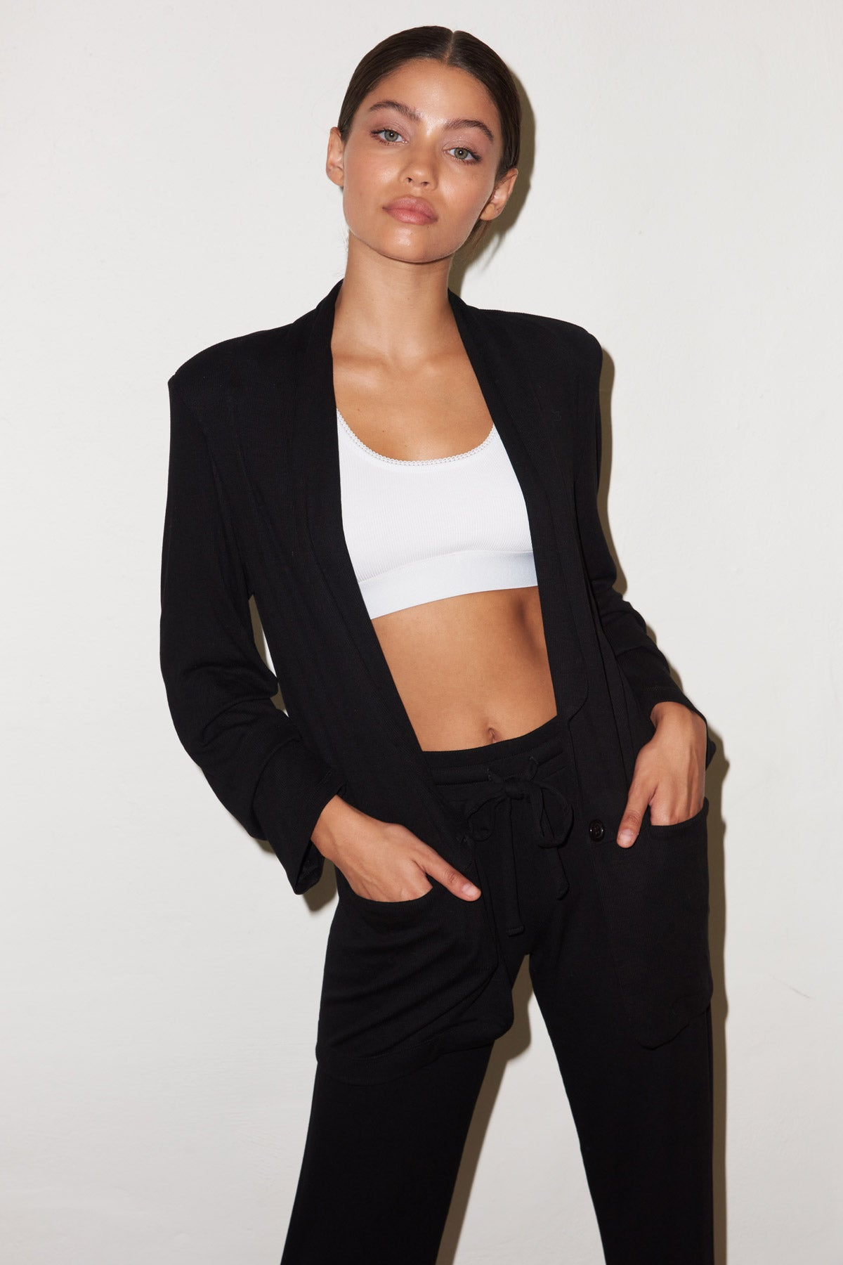 LNA Ribbed Blazer with Pockets in Black