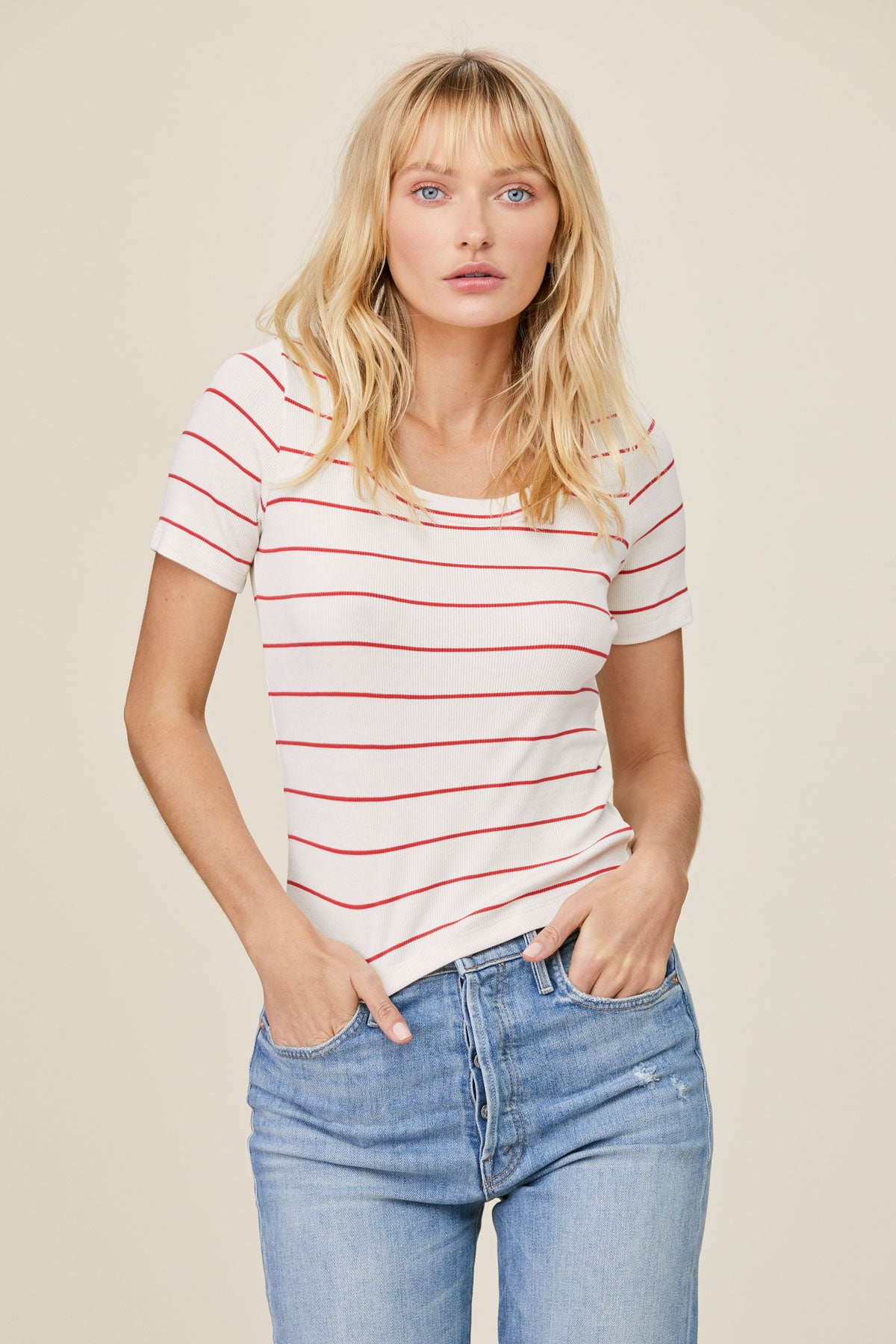 LNA Devan Rib Tee in Red and White Stripes