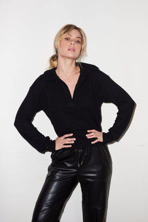 LNA Ribbed Dudley Pullover in Black