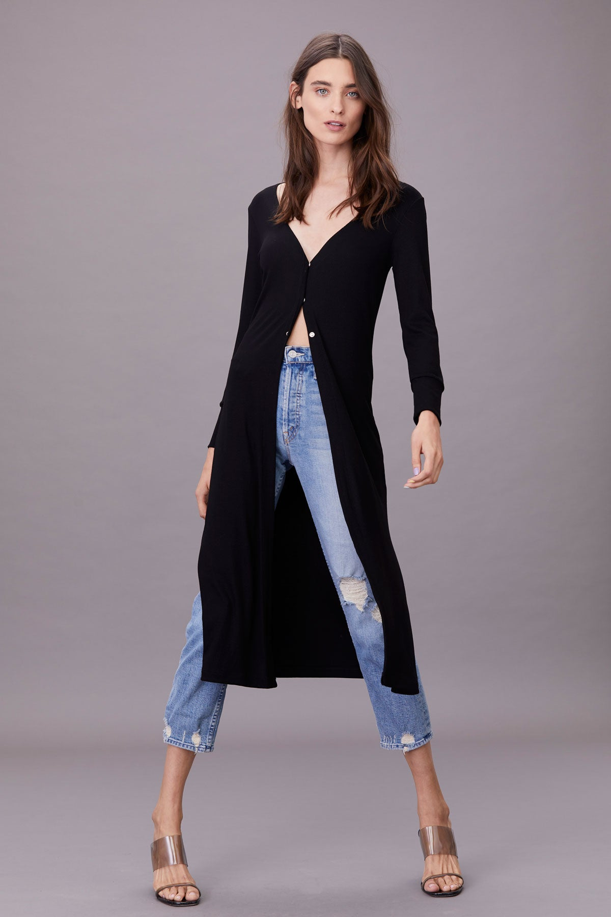 LNA Emmit Midi Ribbed Cardigan in Black